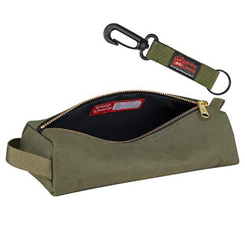 Rough Enough Canvas Small Tool Bag Zipper Multi Tools Pouch Big Pencil Case Stationary Organizer Pocket Box Art Supplies with Military Rugged for Boy Men Women Garden Plier School Office Travel Home