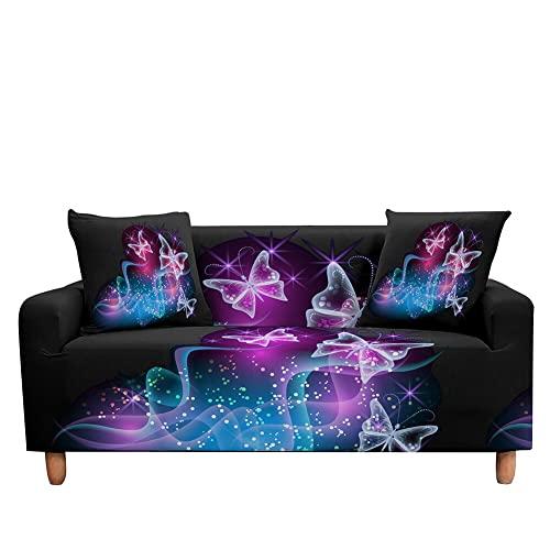 WXQY Funda elástica para sofá con Estampado de Mariposas, Funda para sillón de salón, Funda Protectora para Muebles, Funda para sofá Antideslizante A2, 1 Plaza