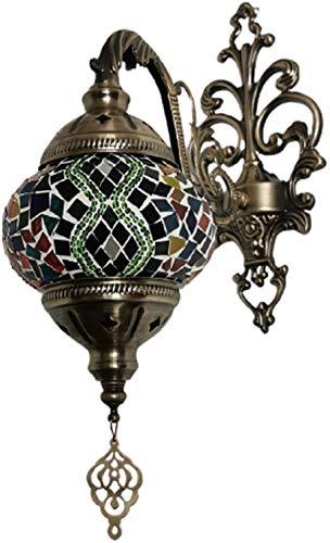 Lámpara de pared retro Mosaico marroquí lámpara de pared Luces de Bohemia hecho a mano de cristal de la lámpara de noche for sala de estar Dormitorio Pasillo Balcón Cafetería Bar ( Color : 20*9cm )