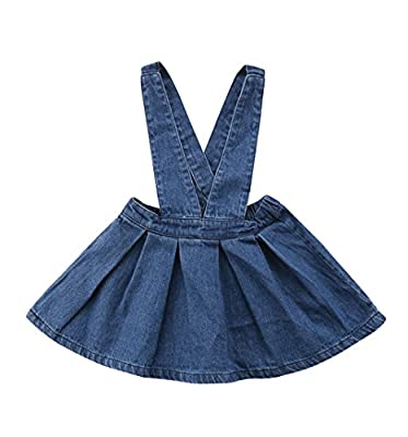 ZAXARRA Toddler Baby Girls Strap Suspender Skirt Overalls Dress Outfit (Blue, 4-5T)