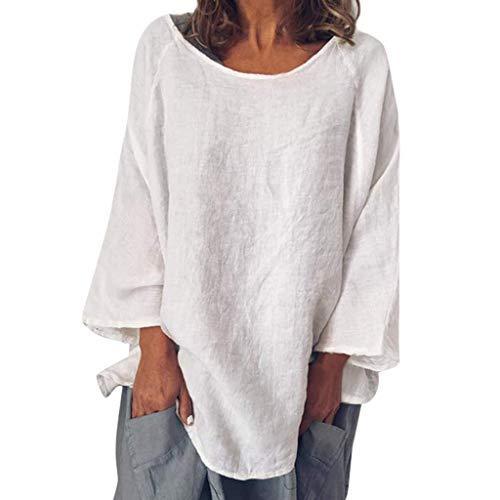 VEMOW Blusa Womens Casual O-Cuello 3/4 Manga Lino sólido Camiseta Suelta Pullover Top(Blanco,M)