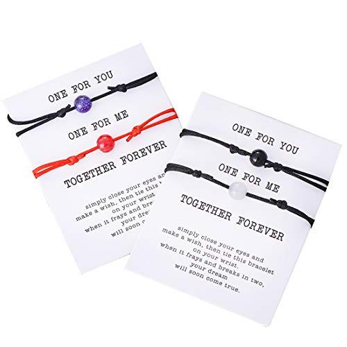 Pipitree Friendship Bracelet Gift Card -Thank You Wish Bracelet Jewelry Charm Bracelet for Friends(4Pcs) (Z: Natural Stone 2)