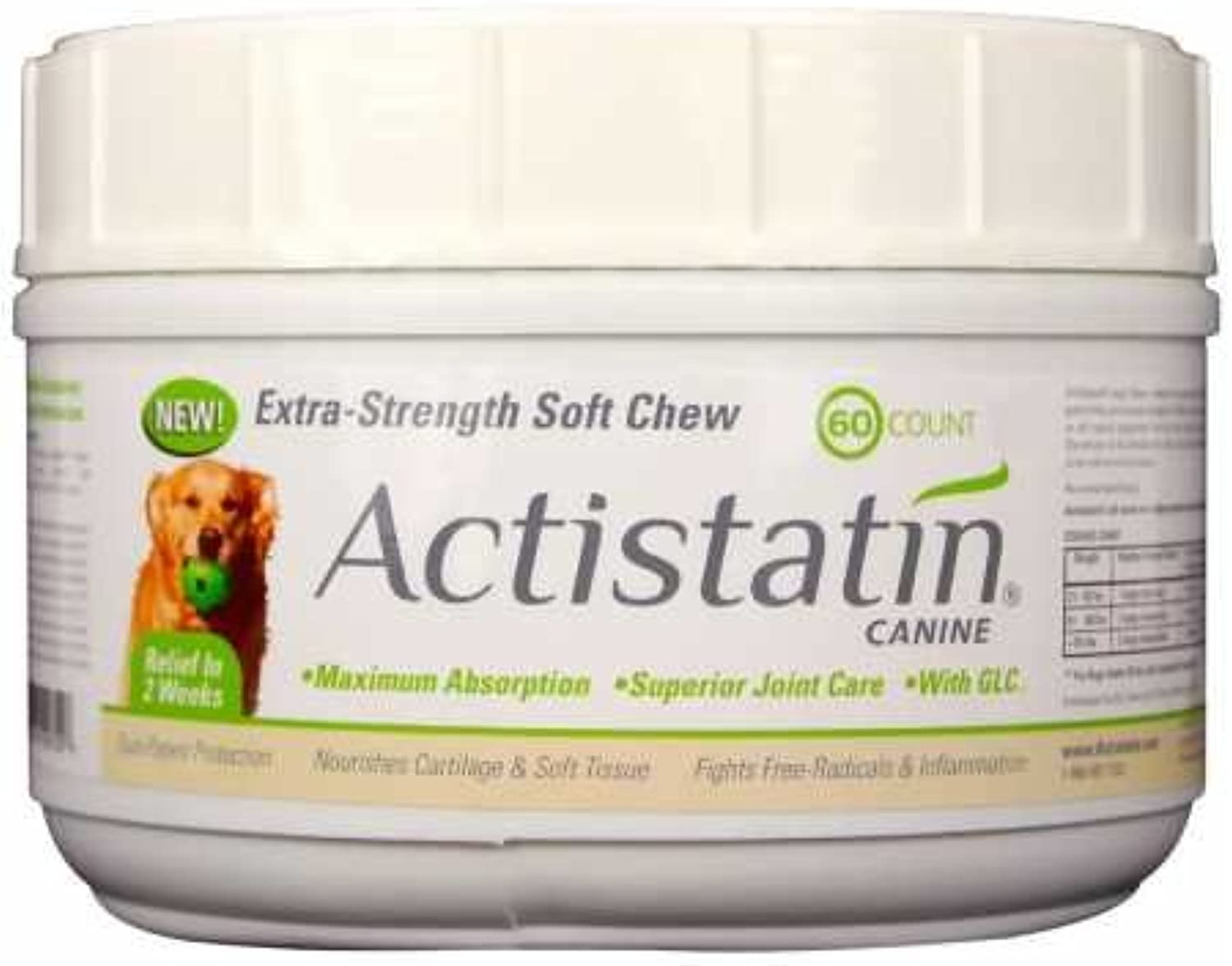 Actistatin Canine Large Dog Soft Chews, 60ct – Patented ExtraStrength Joint, Cartilage, Soft Tissue Supplement  Glucosamine, Chondroitin, Manganese, MSM, LCarnitine – High Absorption, Fast Results