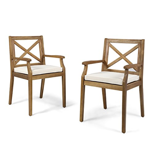 Christopher Knight Home 304680 Peter | Outdoor Acacia Wood Dining Chair Set of 2, Teak/Cream Cushion