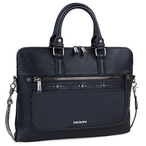 Lois - maletín para portátil Mujer de 15 Pulgadas. portaordenador Piel sintética. Interior Acolchado. Calidad y diseño 310037, Color Negro