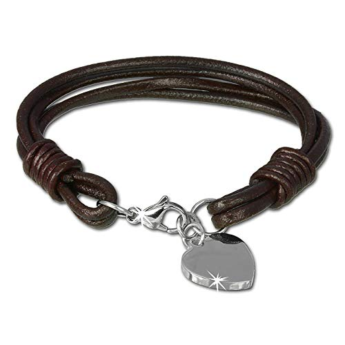 SilberDream-Pulsera de piel con tapa, acero inoxidable, diseño de corazón, color marrón, conveniente circunferencia del brazo hasta 19 cm, o del 20,5 cm-Reloj para hombres y mujeres LAP005B