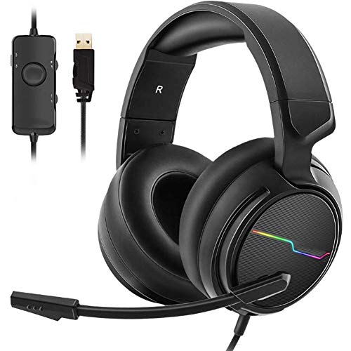 RZJMYUE Auricolare con 7.1 Surround Sound, Gaming Headset con Microfono, Earpad per PC, Mac, Laptop, Mobile