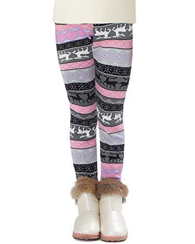Adorel Leggings Invierno Forro Polar Gruesos para Niñas Violeta Venado 9 Años (Tamaño del Fabricante 150)