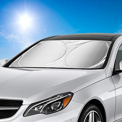 AODOOR Auto Sonnenschutz, Sonnenschutz für Frontscheiben, Sommer Sonnenschutz Auto Frontscheibe Sonnenschutz Sonnenblende, Windschutzscheiben Abdeckung UV-Schutz für Auto, SUV - 150x70cm