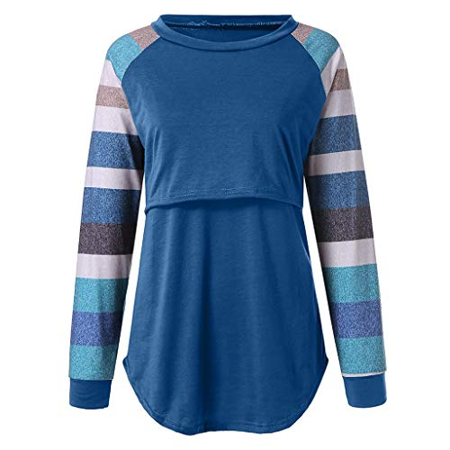 Great Features Of Women's Nursing Tops Color Block Long Sleeve Round Neck Breastfeeding T-Shirt Mate...