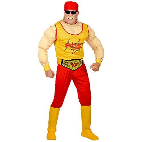 NET TOYS Disfraz Hulk Hogan - Amarillo-Rojo S (ES 48) - Outfit Deportivo para Hombre Luchador Disfraz Masculino Carnaval y Fiestas temticas