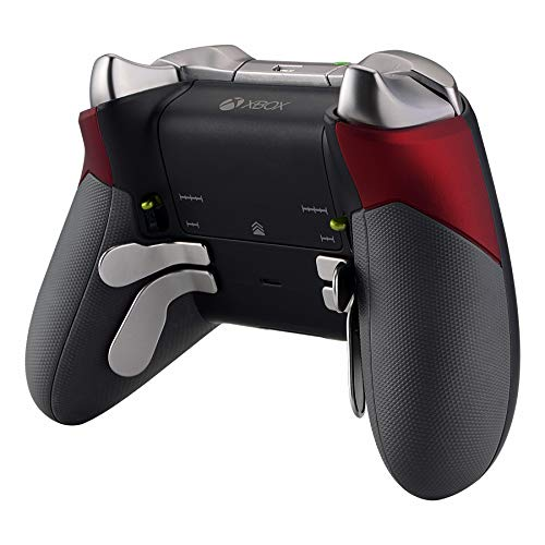 eXtremeRate Poignées Grips Coques Arrières Caoutchoutés,Gauche Droit Housse Boîtier de Remplacement Kits pour Manette Contrôleur Xbox One Elite(Modèle 1698)-Rouge