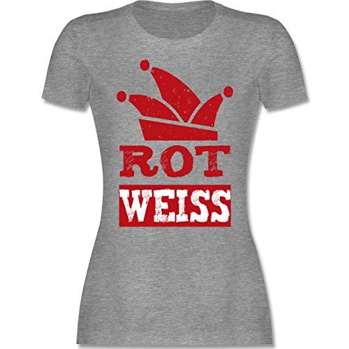 Karneval & Fasching - Rot Weiss Köln - XXL - Grau meliert - köln Shirt Damen Karneval - L191 - Tailliertes Tshirt für Damen und Frauen T-Shirt