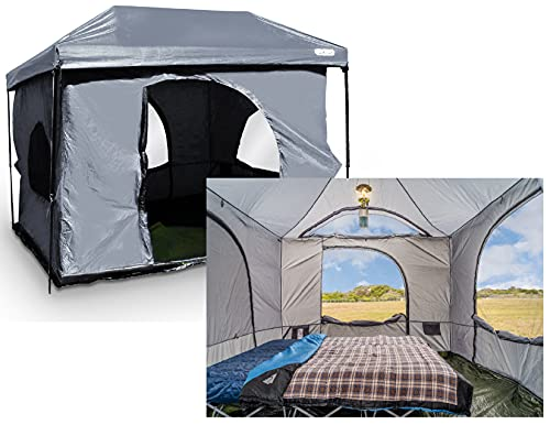 Standing Room PREMIUM Family Cabin Tent 8.5 ' OF HEAD ROOM 4 Big Screen Doors Fast Easy Set Up Full...