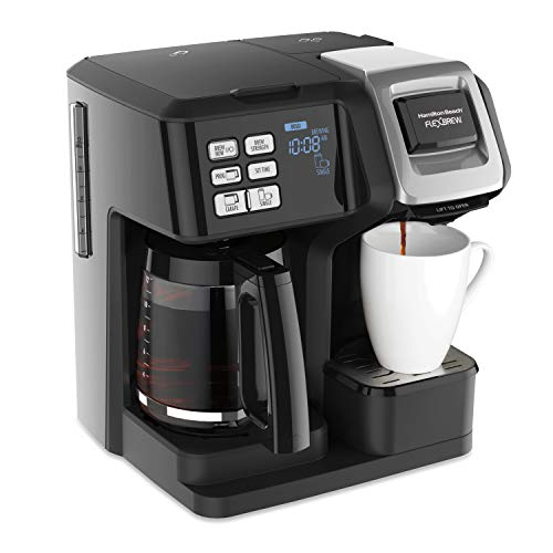 Hamilton Beach FlexBrew Trio Coffee Maker, 2-Way Single Serve & Full 12c Pot Compatible with K-Cup Pods or Grounds, Combo, Black (49976)