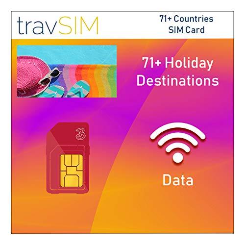travSIM Three UK 71+ Urlaubsziele Prepaid SIM-Karte - 12GB Daten 30 Tage gültig - kostenloses Roaming in 71+ Ländern einschließlich USA Dänemark Brasilien Niederlande Chile Norwegen