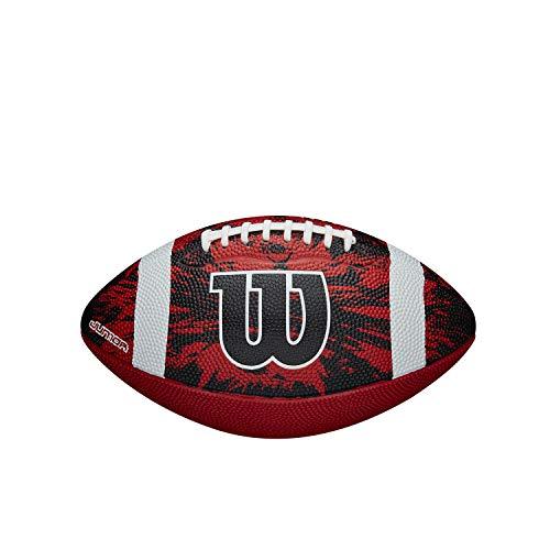 Wilson American Football DEEP THREAT RED/BLACK, Für Einsatz in der Freizeit, Offizielle Größe, Gummi-Material, rot/schwarz/weiß, WTF1592XB