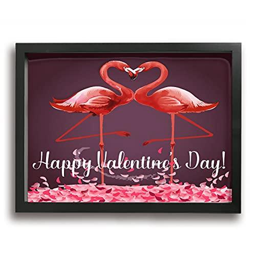 Pintura enmarcada Día de San Valentín Flamingo 40,6 x 30,5 cm Lienzo Impresiones Clásicas Reproducciones De Arte Moderno Marco De Fotos Arte De La Pared Cuadros Para Salón Oficina Hogar