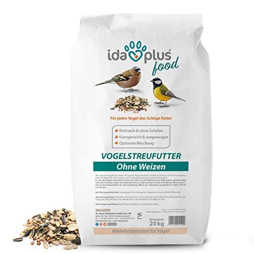 Ida Plus - Vogelstreufutter ohne Weizen für Wildvögel & Vögel 20 Kg - Winterstreufutter - Ganzjahres Vogelfutter - Optimale Mischung für alle Vögel - Futter ist Weizenfrei, Fettreich & Energiereich