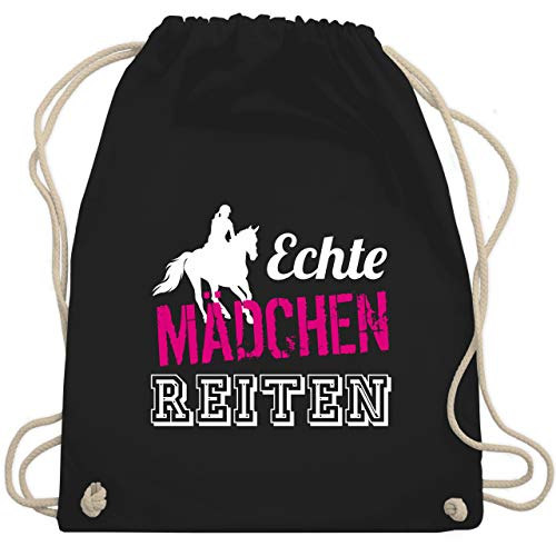 Shirtracer Pferde Geschenk und Reiten Zubehör - Echte Mädchen reiten - Unisize - Schwarz - turnbeutel echte mädchen reiten - WM110 - Turnbeutel und Stoffbeutel aus Baumwolle