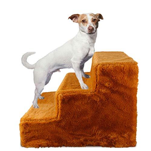 Estrella-L Doggy Steps, rutschfeste 3 Stufen, breite Haustiertreppe, Katzen am besten für kleine bis große Haustiere, frei montiert und zerlegt, umweltfreundliches PP-Material (braun)