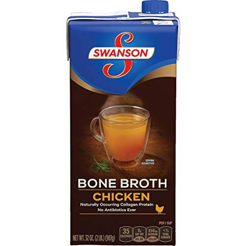 Swanson Chicken Bone Broth, 32 oz. Resealable Carton (Pack of 12)