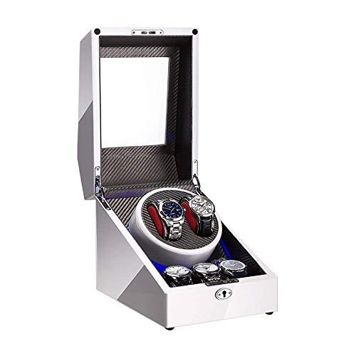 ZHENAO Reloj Automático Blanco Caja de Enrollador para 2 Reloj + 3 Alenamiento Incorporado Led Luz de Piano Pintura de Pintura Adaptador Y Batería Exquisito