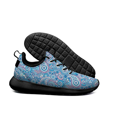LOKIJM Blue Water Tropical Leaves White Gym Shoes for Mens Spring Shock Absorption Best Running Shoes