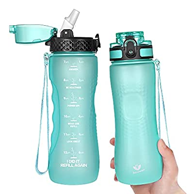 Water Bottle with Straw,25oz Motivational Water...