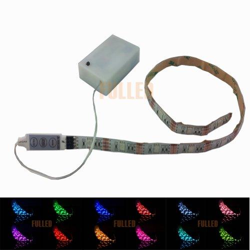 LED Leiste 50CM Stripe Licht RGB Mehrfarbig + Batterie box Batteriebetrieben + Mini Controller