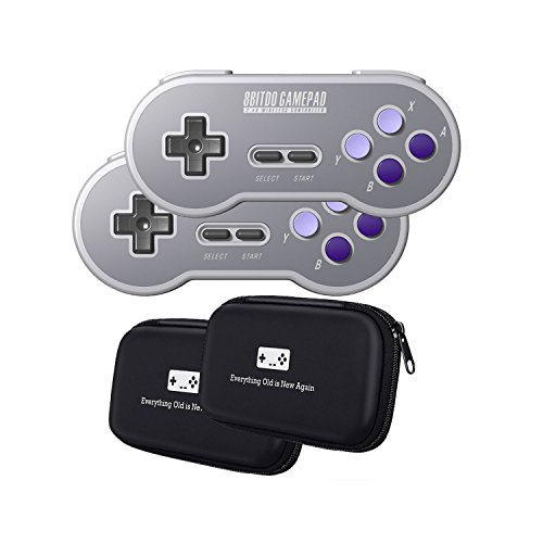 8Bitdo SN30 2.4G Wireless Controller Double-Pack Bundle with Bonus Carrying Cases - NES, SNES, SFC...