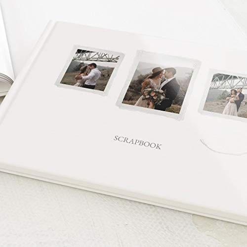 sendmoments Scrapbook personalisierbar mit Ihrem Bild, Bastelalbum, kreatives Erinnerungsalbum zum Ausfüllen, Blanko-Innenseiten, Hardcover-Buch, A4 Querformat, 32 Seiten oder mehr, White Wedding