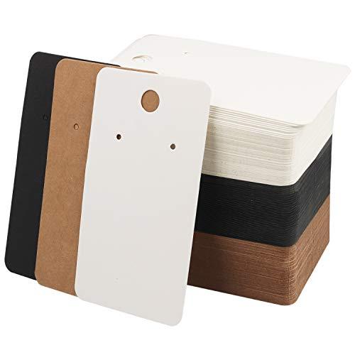 BELLE VOUS Ohrring Display Karten(150er-Pack) - 9cm x 5cm, Ohrring-Kartenhalter in Weiß, Braun und Schwarz - Leere Kraftpapieranhänger für DIY-Ohrstecker und Ohrringe