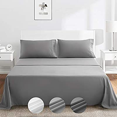 """ASHOMELI Bed Sheet Set Queen Size Super Soft Microfiber 1800TC Bedding Sheets 10-16"""" Deep Pockets - Warm,Breathable,Wrinkle and Fade Resistant Hypoallergenic-4 Piece(Queen, Grey)"""