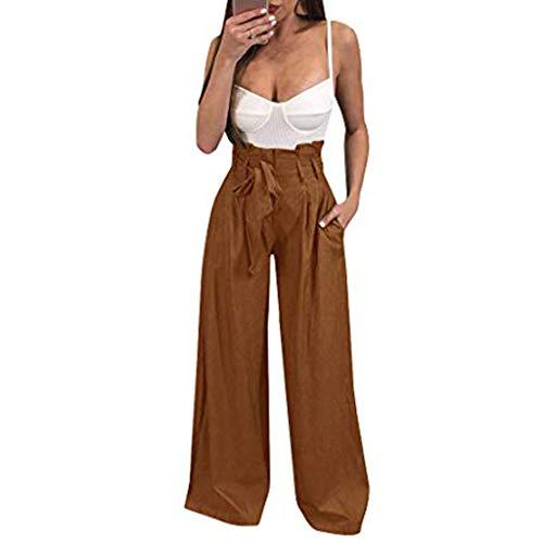 Damen Weite Bein Lange Hose,Luotuo Frauen Mode Leichte Gummibund Stoffhose Weich Bequem Lose Einfarbig Freizeithose Lange Bootleg-Hose Mit Taschen und Gürtel