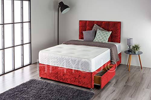 Home Furnishings UK Crushed Velvet Divan Bed Set with a Memory Sprung Mattress and Matching Buttoned Headboard (No Drawers) (3FT Single, Red)
