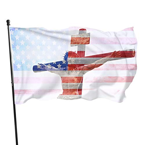 SOEXO Flag American Christian Flag 3 X 5 Ft Longest Lasting- UV Protection Perfect for Outdoors!