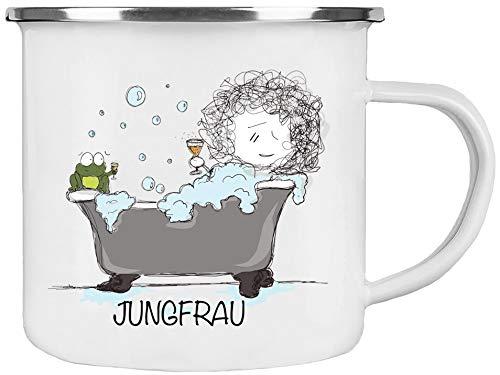 Cadouri Emaille Tasse » Sternzeichen Jungfrau « Kaffeetasse Bürotasse Sprüchetasse - 300 ml