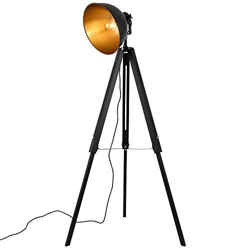 lux.pro Design Stehleuchte Dreibein Studiolampe 135 x 60 x Ø30 cm Film Scheinwerfer Wohnzimmerlampe schwarz/Gold