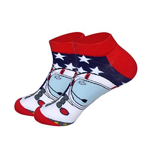 AOGUHN Socken - Wassermelonen-Astronauten-Mais-Bier-Würstchen-Mann-Socken-Sommer-Frühlings-Boots-Socken-Neuheit-Bunte Qualitäts-Baumwollsocken, Astronaut, EUR40,46