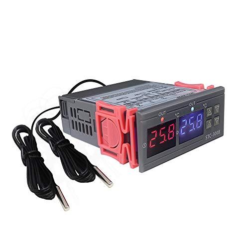 KETOTEK Controlador de temperatura Digital 220V STC-3008, Doble Relé Termostato con 2 Sondas Control de Calefacción Refrigeración para Incubadora