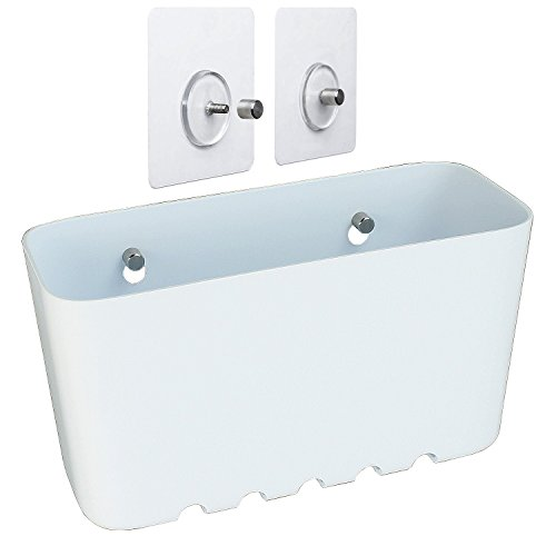 Sanixa TA45201 Duschregal weiß ohne Bohren|Nano Befestigungssystem|Belastbar bis 10 kg|Kunststoff Duschkorb Dusch-Ablage Bad & Küche Aufbewahrungskorb