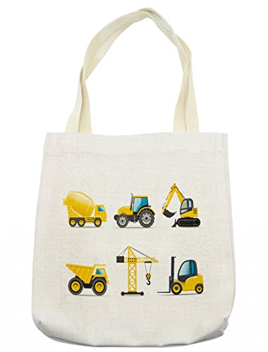Lunarable Boy's Room Tote Bag, Cartoon Style Heavy Machinery Truck Crane Digger Mixer Tractor Construction, Cloth Linen Reusable Bag for Shopping Groceries Books Beach Travel & More, Cream
