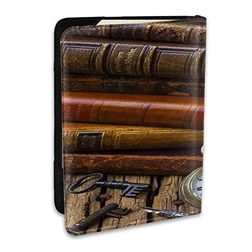 Funda para Pasaporte Funda Historia Libros y Reloj Cuero PU Cartera de Viaje Tarjeta de Bloqueo Cartera Fundas para Pasaporte 6.5 Pulgadas