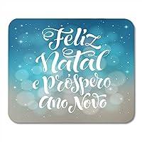 マウスパッドメリークリスマスと新年あけましておめでとうございますテキストポルトガル語マウスパッドノート、デスクトップコンピューターマウスマット、オフィス用品