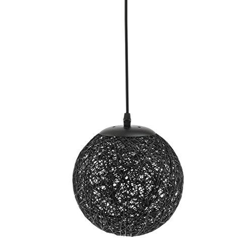 Hängeleuchtenschirm Rattan Deckenleuchte Lampenschirm für Wohnzimmer, Schlafzimmer, Kinderzimmer, Esszimmer Dekor Zubehör - Schwarz