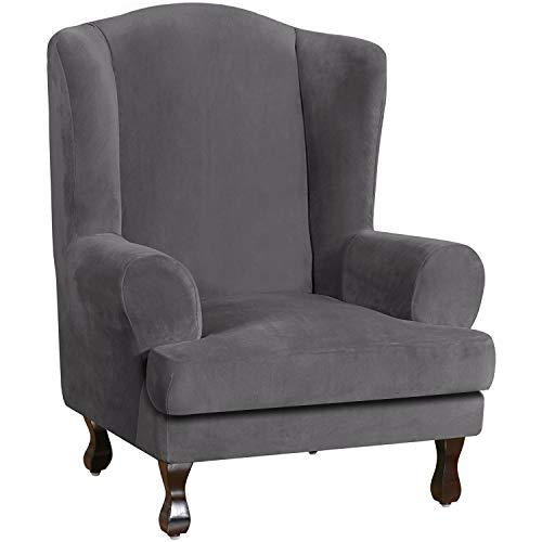 E EBETA Samt-Optisch Sesselbezug, Sessel-Überwürfe Ohrensessel Überzug Bezug Sesselhusse Elastisch Stretch Husse für Ohrensessel (Grau)