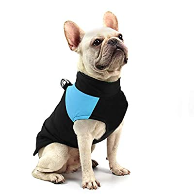 FEimaX Dog Coat Waterproof Winter Warm Jacket Puppy Vest Outdoor Pet Dog Clothes Apparel for Cold Weather, Soft Padded Harness with D-ring for Small Medium Large Dogs (M, Blue)