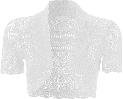 Loxdonz Girls Kids Short Sleeve Crochet Knitted Bolero Shrug Top Cardigan Shrug 11 12 Years product image