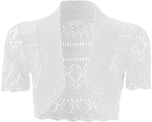 Loxdonz Girls Kids Short Sleeve Crochet Knitted Bolero Shrug Top Cardigan Shrug (11-12 Years, White)